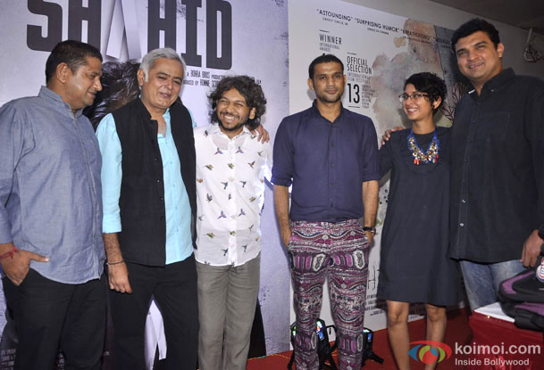 Mukesh Shah, Hansal Mehta, Anand Gandhi, Sohum Shah, Kiran Rao and Siddharth Roy Kapur during the success party of 'Shahid' and 'Ship Of Theseus'
