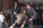 Amitabh Bachchan Snapped With The 'Bull' At Mumbai's Bombay Stock Exchange