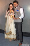 Genelia Dsouza and Riteish Deshmukh during the trailer launch of film 'Lai Bhaari'