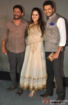 Nishikant Kamat, Genelia Dsouza and Riteish Deshmukh during the trailer launch of film 'Lai Bhaari'