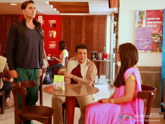 Akshay Kumar, Govinda and Sonakshi Sinha in a still from movie 'Holiday'