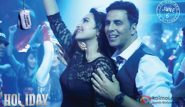 Sonakshi Sinha and Akshay Kumar in a still from movie 'Holiday'