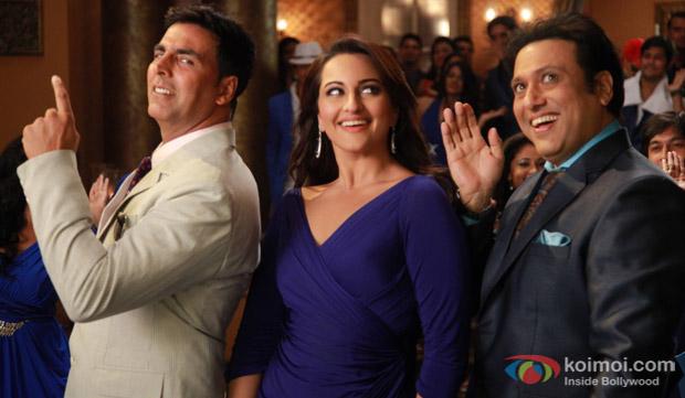 Akshay Kumar, Sonakshi Sinha and Govinda in a still from movie 'Holiday'