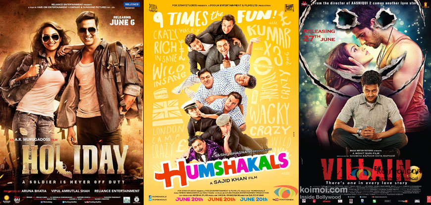 Holiday – A Soldier Is Never Off Duty, Humshakals and Ek Villain Movie Poster
