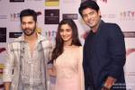 Varun, Alia, Siddharth pose together at the press meet