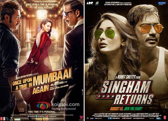 Once Upon A Time In Mumbaai Dobaara and Singham Returns Movie Poster