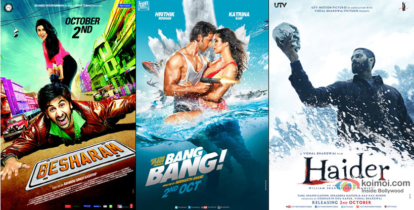 Besharam, Bang Bang and Haider Movie Poster