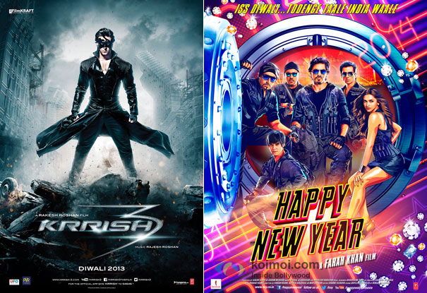 Krrish 3 and Happy New Year Movie Poster