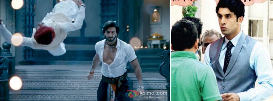 Ranveer Singh and Ranbir Kapoor in a still from movie Ramleela and Bombay Velvet