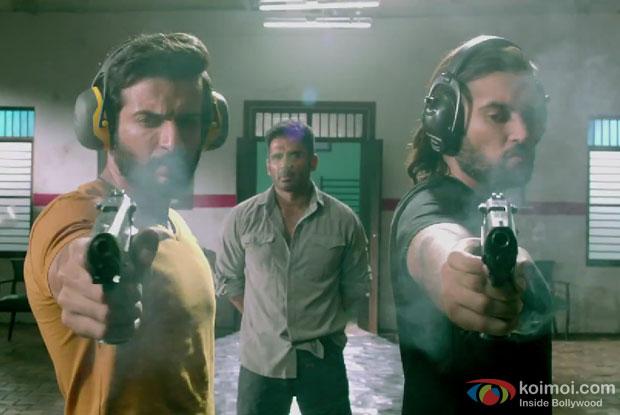 Jay Bhanushali, Suniel Shetty and Sasha Agha in a still from movie 'Desi Kattey'