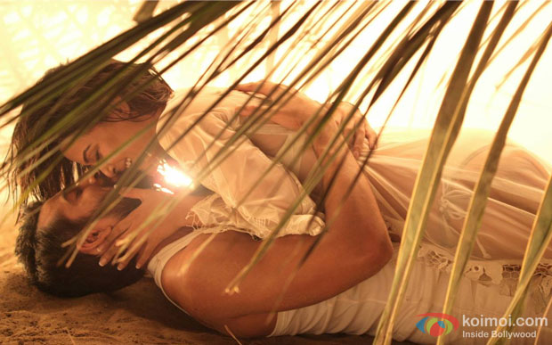 Jay Bhanushali and Surveen Chawla in a still from movie 'Hate Story 2′