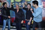 Riteish Deshmukh, Mahesh Bhatt, Mohit Suri and Sidharth Malhotra during the success party of movie 'Ek Villain'