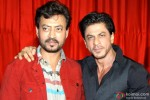 Irrfan Khan and Shah Rukh Khan during the trailer launch of movie 'Ekkees Toppon Ki Salaami'