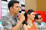 Akshay Kumar, Tamannaah and Ramesh Taurani during the promotion of movie 'Entertainment' in Bengaluru
