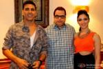 Akshay Kumar, Ramesh Taurani and Tamannaah during the promotion of movie 'Entertainment' in Bengaluru