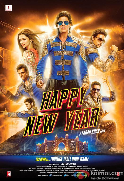 Shah Rukh Khan, Abhishek Bachchan, Boman Irani, Sonu Sood, Deepika Padukone and Vivaan Shah in a 'Happy New Year' Movie Poster