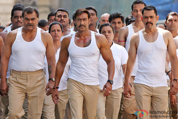 Ajay Devgn in a still from movie 'Singham Returns'