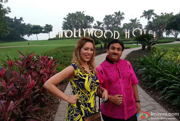 Babita with Jetha at HongKong Disneyland