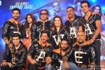 Abhishek Bachchan, Deepika Padukone, Jackie Shroff, Farah Khan, Boman Irani, Sonu Sood, Vivaan Shah, Shah Rukh Khan, Shekhar Ravjiani and Vishal Dadlani during the trailer launch of movie Happy New Year
