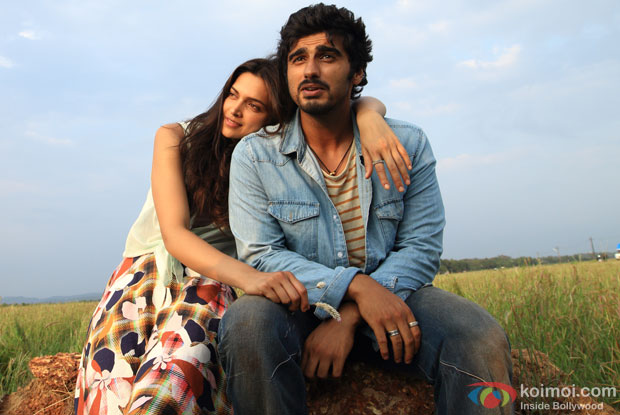 Deepika Padukone and Arjun Kapoor in a still from movie 'Finding Fanny'