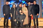 Boman Irani, Farah Khan, Shah Rukh Khan, Vivaan Shah, Deepika Padukone, Abhishek Bachchan and Sonu Sood during the grand music launch of 'Happy New Year'