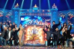 Vishal Dadlani, Irshad Kamil, Bhushan Kumar, Boman Irani, Vivaan Shah, Sunidhi Chauhan, Deepika Padukone, Shah Rukh Khan, Farah Khan, Sonu Sood, Abhishek Bachchan, Neeti Mohan and Shekhar Ravjiani during the grand music launch of 'Happy New Year'