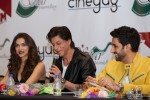 Deepika Padukone, Shah Rukh Khan and Abhishek Bachchan during the Grand Press Meet Of SLAM! The Tour In Houston