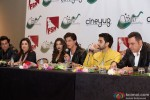 Sonu Sood, Farah Khan, Deepika Padukone, Shah Rukh Khan, Abhishek Bachchan and Boman Irani during the Grand Press Meet Of SLAM! The Tour In Houston