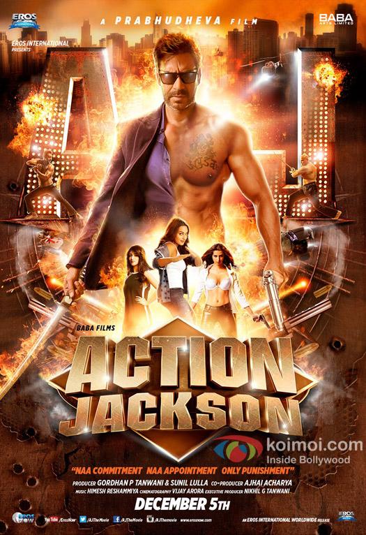 Ajay Devgn, Sonakshi Sinha and Yami Gautam in a 'Action Jackson' movie poster