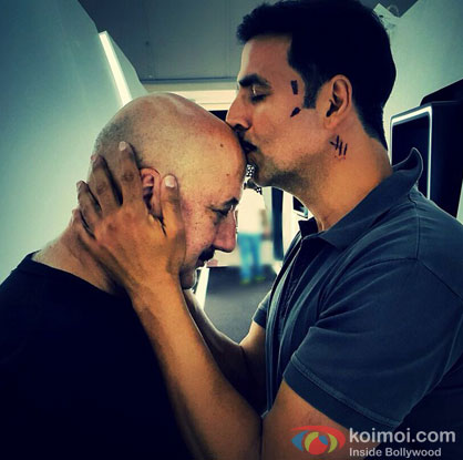 Anupam Kher and Akshay Kumar on the sets of movie 'Baby'