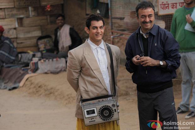 Aamir Khan and Raj Kumar Hirani on the sets of movie 'PK'