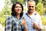 Priya Dutt and Owen Roncon Cast Vote For Maharashtra State Assembly Elections 2014