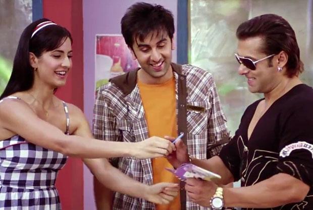 Katrina Kaif, Ranbir Kapoor and Salman Khan in a still from movie 'Ajab Prem Ki Ghazab Kahani'