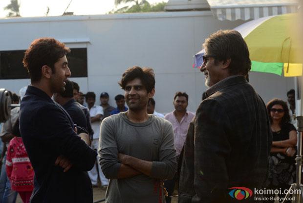 Ranbir Kapoor and Amitabh Bachchan on the sets of movie 'Bhoothnath Returns'