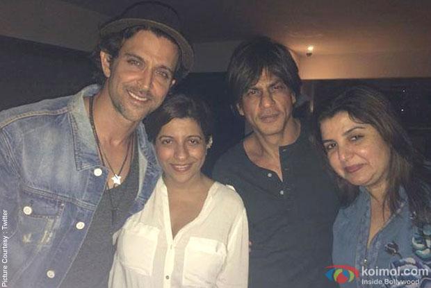 Hrithik Roshan, Zoya Akhtar, Shah Rukh Khan and Farah Khan during the Gauri Khan's Birthday Bash