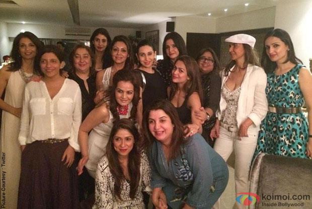Zoya Akhtar, Reema Jain, Karisma Kapoor, Parmeshwar Godrej and Farah Khan during the Gauri Khan's Birthday Bash