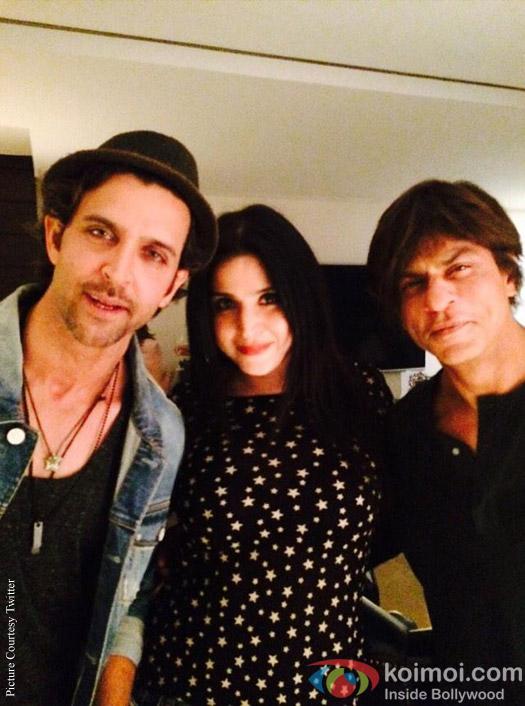 Hrithik Roshan and Shah Rukh Khan during the Gauri Khan's Birthday Bash