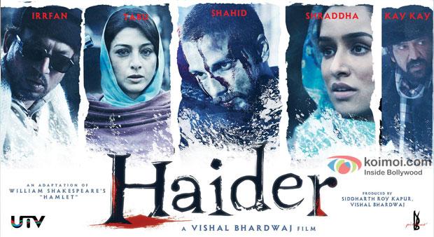 Irrfan Khan, Tabu, Shahid Kapoor, Shraddha Kapoor and Kay Kay Menon in a 'Haider' Movie Poster