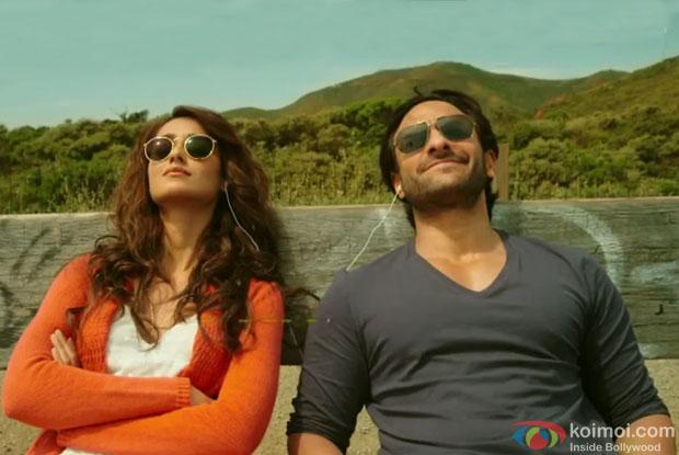 Ileana Dcruz and Saif Ali Khan in a still from movie 'Happy Ending'