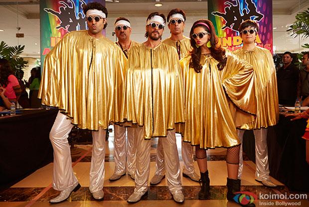 Abhishek Bachchan, Boman Irani, Shah Rukh Khan, Sonu Sood, Deepika Padukone and Vivaan Shah in a still from movie' Happy New Year'