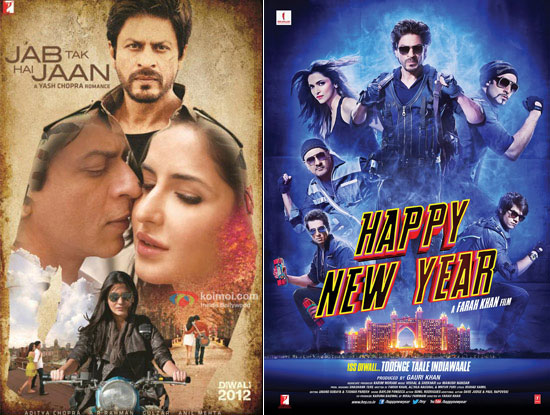 'Jab Tak Hai Jaan' and 'Happy New Year' movie posters