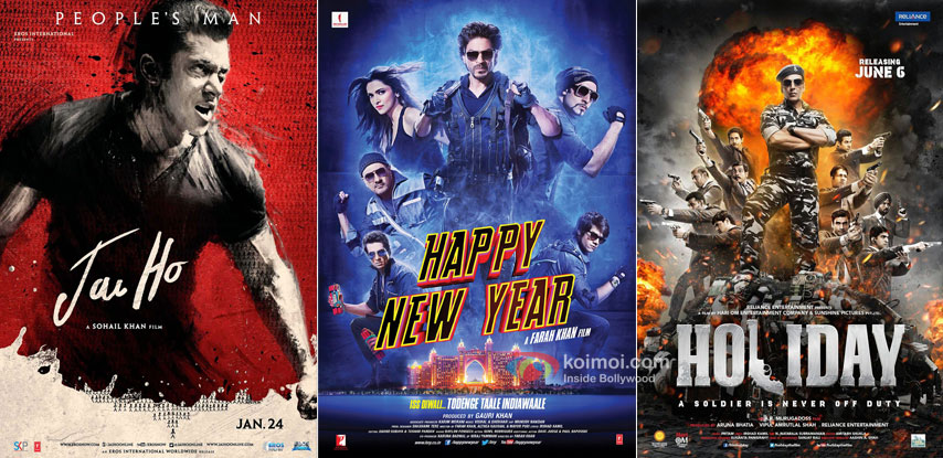 'Jai Ho' , 'Happy New Year' and 'Holiday' movie posters