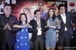 Boman Irani, Farah Khan, Shah Rukh Khan, Deepika Padukone and Sonu Sood during the promotion of movie 'Happy New Year' at Ahmedabad