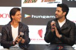 Shah Rukh Khan and Abhishek Bachchan during the launch of Happy New Year Game