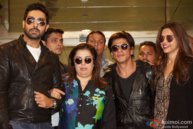 Abhishek Bachchan, Farah Khan, Shah Rukh Khan and Deepika Padukone Back In India After SLAM! The Tour