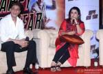 Shah Rukh Khan and Farah Khan during the Happy New Year's press meet in Kolkata