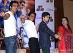 Sonu Sood, Shah Rukh Khan, Vivaan Shah and Farah Khan during the Happy New Year's press meet in Kolkata