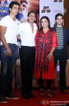 Sonu Sood, Shah Rukh Khan, Farah Khan and Vivaan Shah during the Happy New Year's press meet in Kolkata