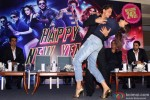 Sonu Sood, Shah Rukh Khan, Deepika Padukone, Boman Irani and Abhishek Bachchan during the promotion of movie 'Happy New Year' in Delhi