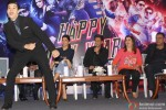 Vivaan Shah, Deepika Padukone, Shah Rukh Khan, Farah Khan and Boman Irani during the promotion of movie 'Happy New Year' in Delhi
